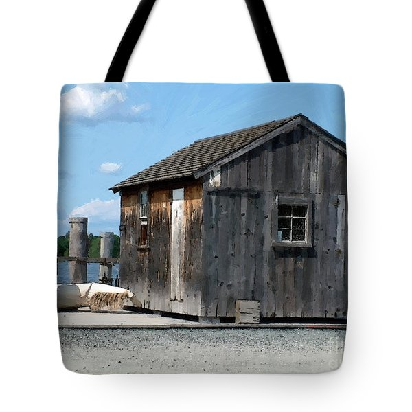 Fishing Shack On The Mystic River Tote Bag by RC DeWinter