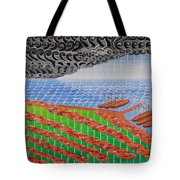 Fishing Shack Town Tote Bag