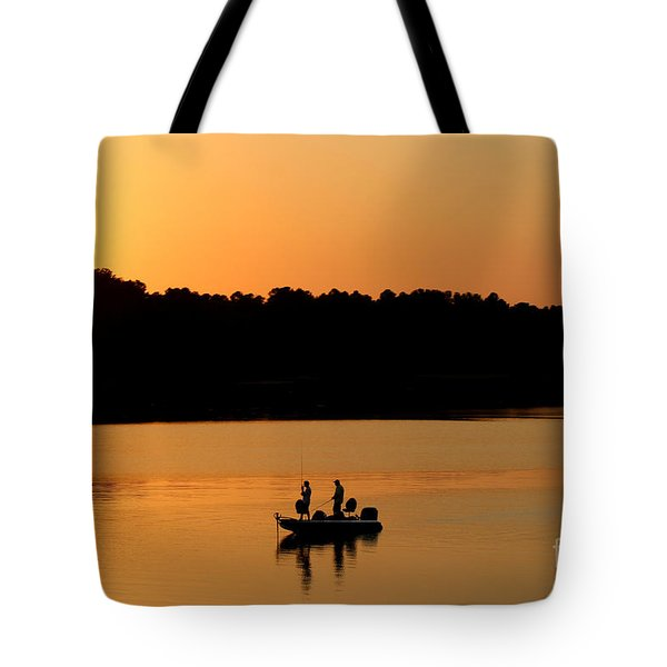 Tote Bag featuring the photograph Fishing Silhouette  by Kathy  White