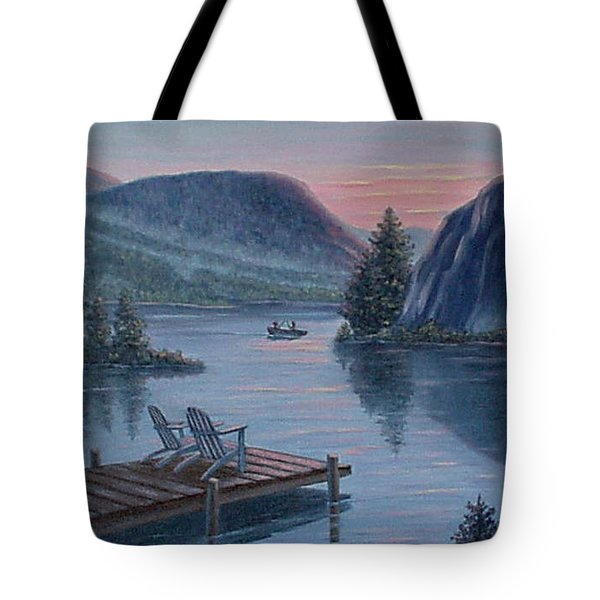 Tote Bag featuring the painting Fishing Spot For Two by Fran Brooks