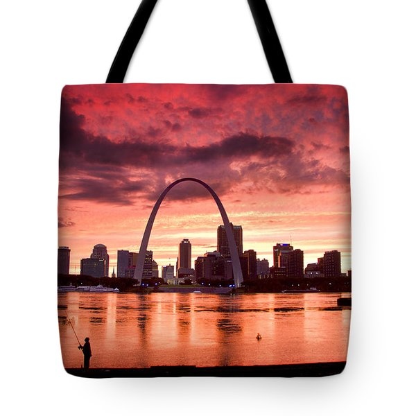 Fishing The Mississippi In St Louis Tote Bag