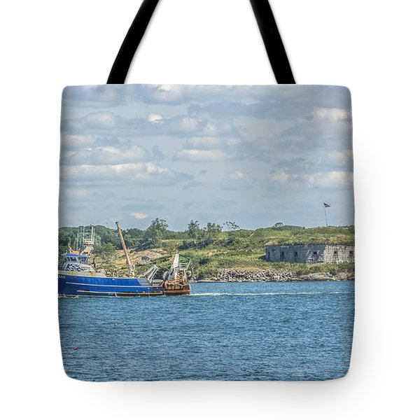 Tote Bag featuring the photograph Fishing Trawler Coming Into Port by Jane Luxton