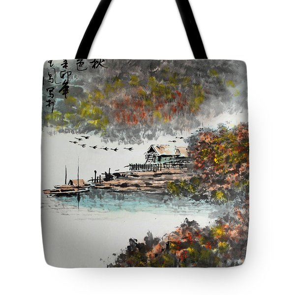 Fishing Village In Autumn Tote Bag by Yufeng Wang