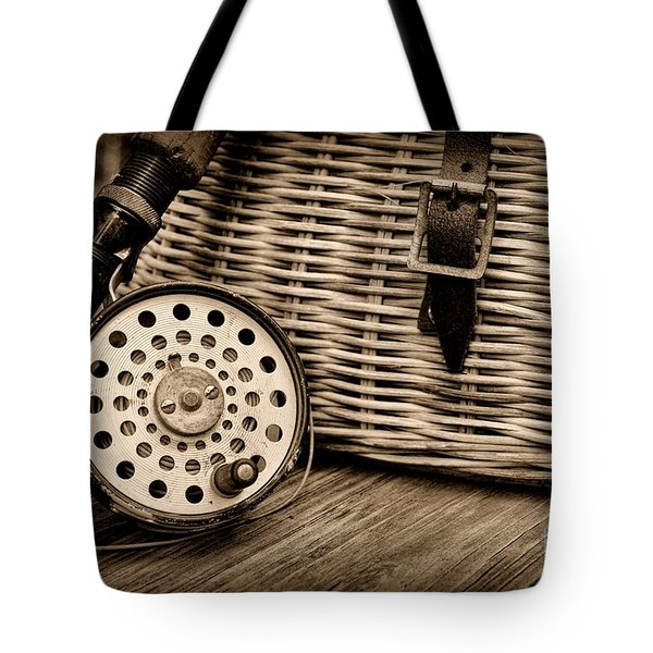 Fishing - Vintage Fly Fishing - Black And White Tote Bag by Paul Ward