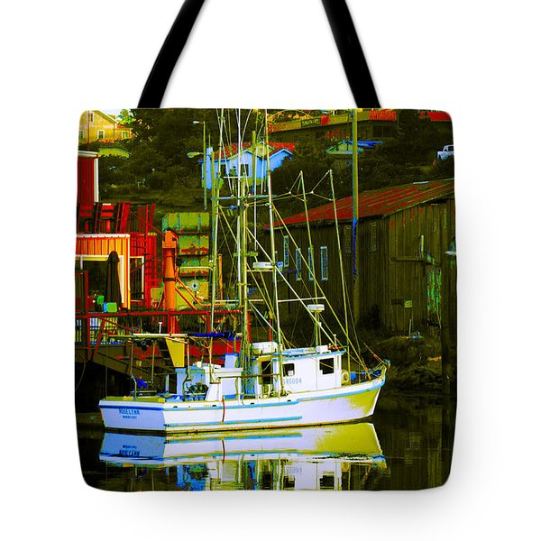 Fish'n Boat At Harbor Tote Bag