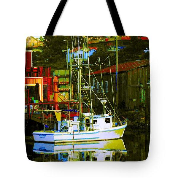 Fish'n Boat At Harbor Tote Bag
