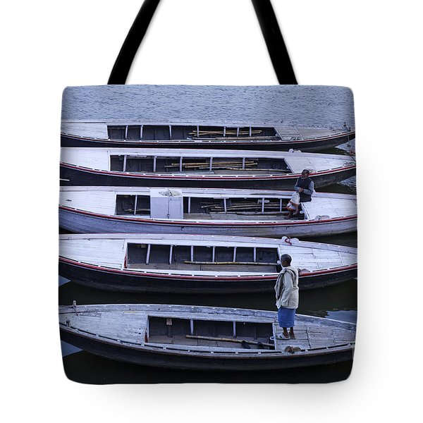 Five Boats On The Ganges Tote Bag by Robert Preston