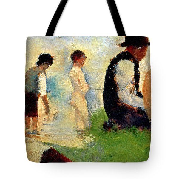 Five Male Figures Possible Preparatory Sketch For The ''bathers At Asnieres.'' Tote Bag by Georges Pierre Seurat
