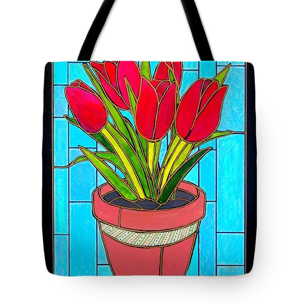 Five Red Tulips Tote Bag by Jim Harris