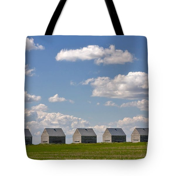 Five Sheds On The Alberta Prairie Tote Bag by Louise Heusinkveld