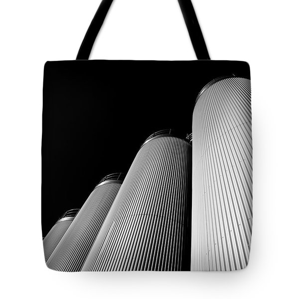 Five Silos In Black And White Tote Bag
