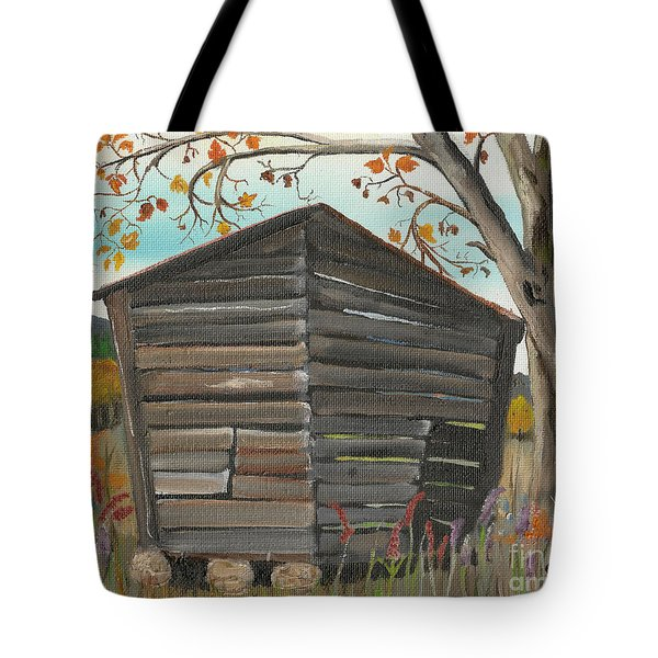 Autumn - Shack - Woodshed Tote Bag by Jan Dappen