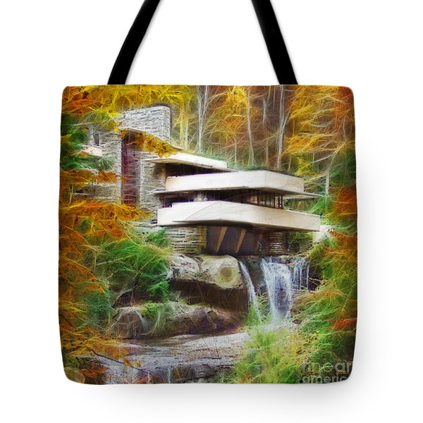 Fixer Upper - Square Version - Frank Lloyd Wright's Fallingwater Tote Bag