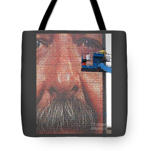 Fixing His Face Tote Bag by Ann Horn