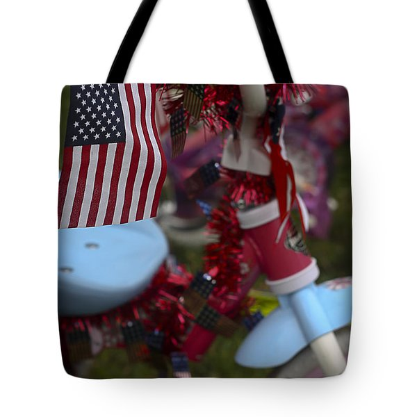 Tote Bag featuring the photograph Flag Bike by Patrice Zinck