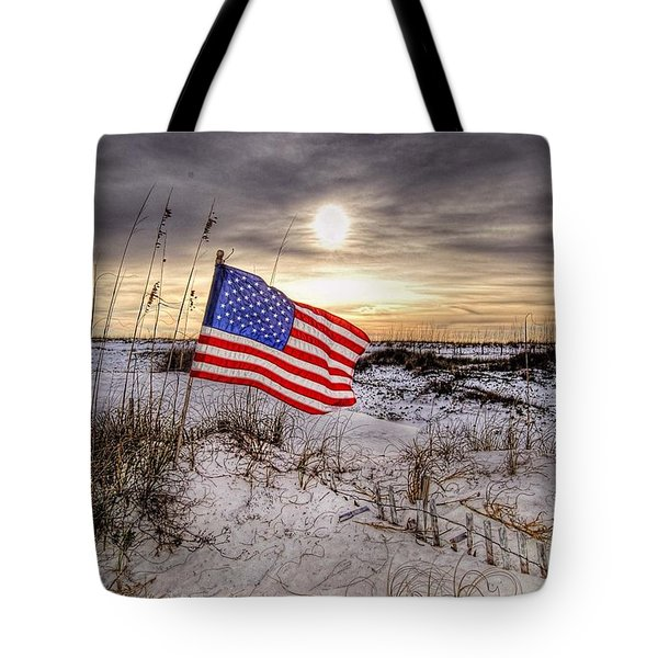 Flag On The Beach Tote Bag