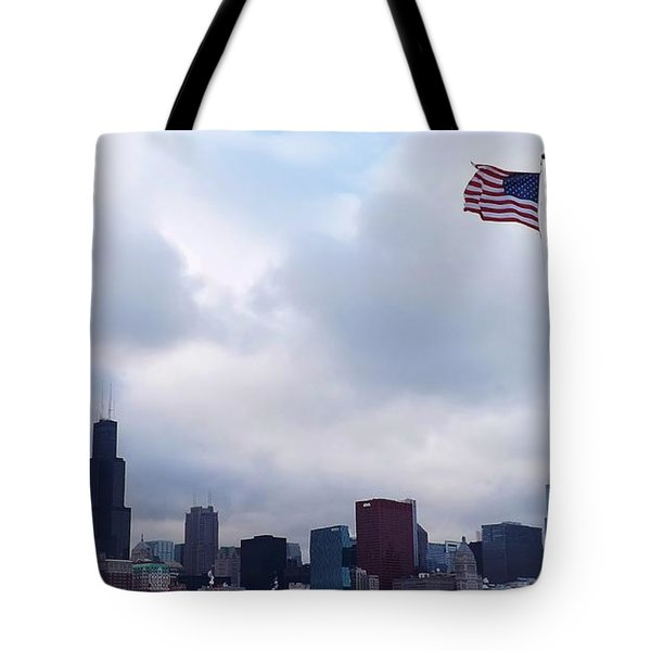 Flag Over City Tote Bag
