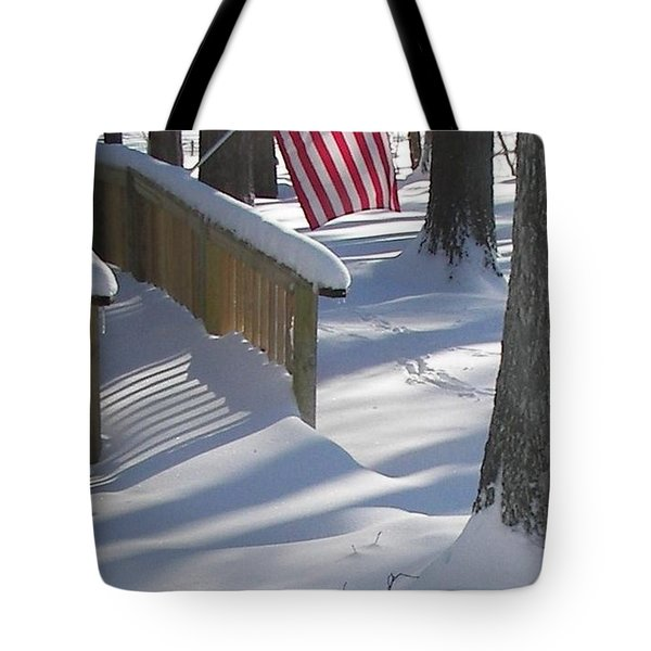 Flag Over Morning Snow Tote Bag