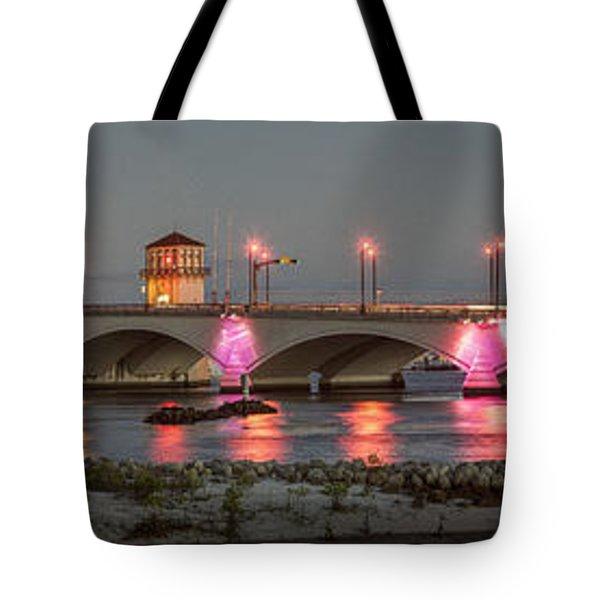 Flagler Bridge In Pink Tote Bag