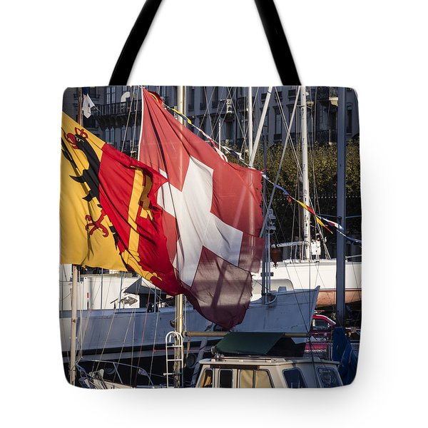 Tote Bag featuring the photograph Flags by Muhie Kanawati