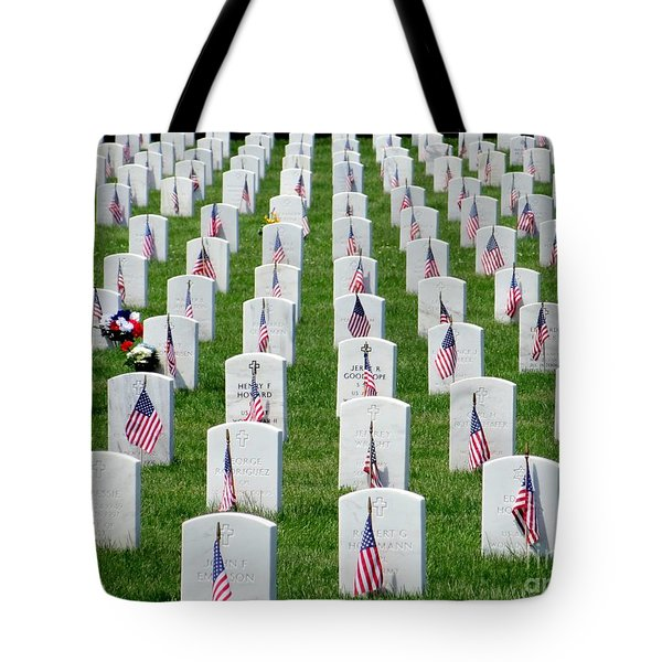Tote Bag featuring the photograph Flags Of Honor by Ed Weidman