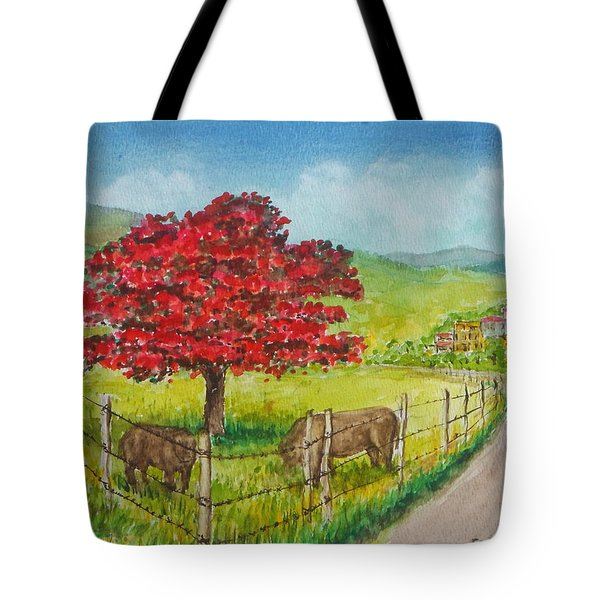 Flamboyan And Cows In Western Puerto Rico Tote Bag by Frank Hunter