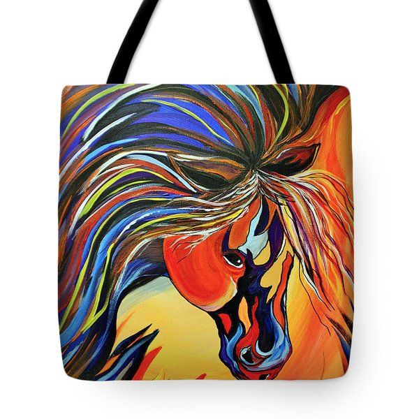 Flame Bold And Colorful War Horse Tote Bag by Janice Rae Pariza