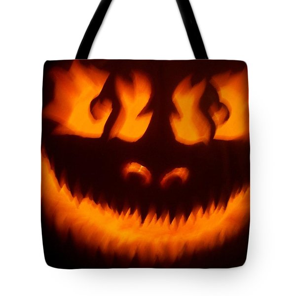 Tote Bag featuring the sculpture Flame Pumpkin by Shawn Dall