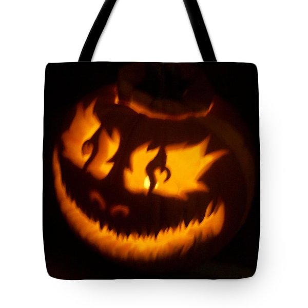 Tote Bag featuring the sculpture Flame Pumpkin Side by Shawn Dall