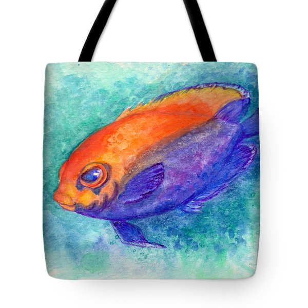 Tote Bag featuring the painting Flameback Angelfish by Ashley Kujan