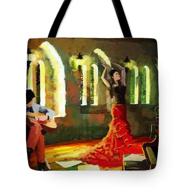 Flamenco Dancer 017 Tote Bag by Catf
