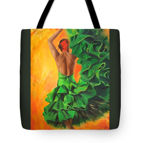 Flamenco Dancer In Green Dress Tote Bag