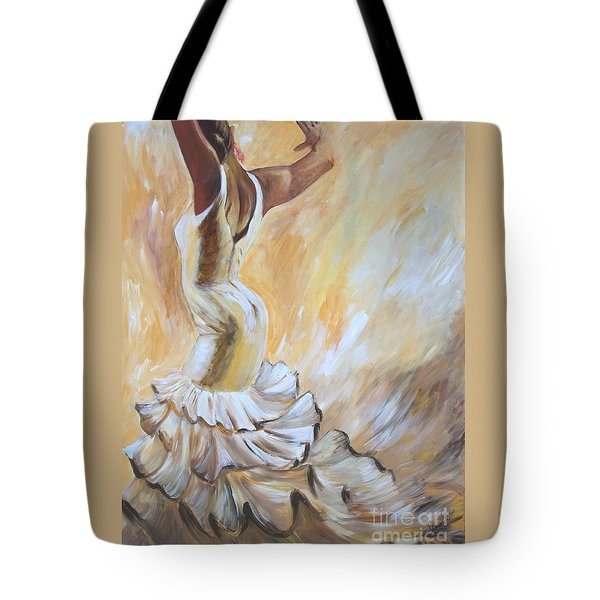 Flamenco Dancer In White Dress Tote Bag