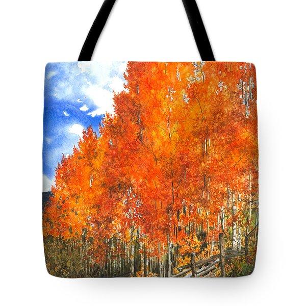 Flaming Aspens Tote Bag by Barbara Jewell