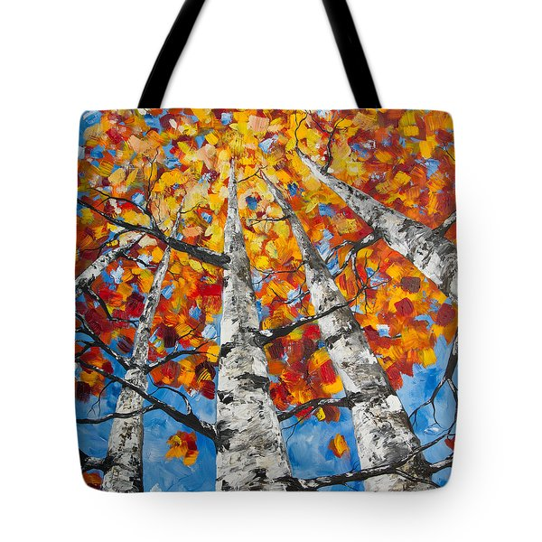 Tote Bag featuring the painting Flaming Aspens by Melinda Cummings