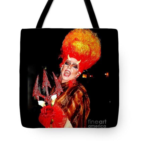 Halloween Flamming Devilish Deva Costume In The French Quarter Of New Orleans Tote Bag