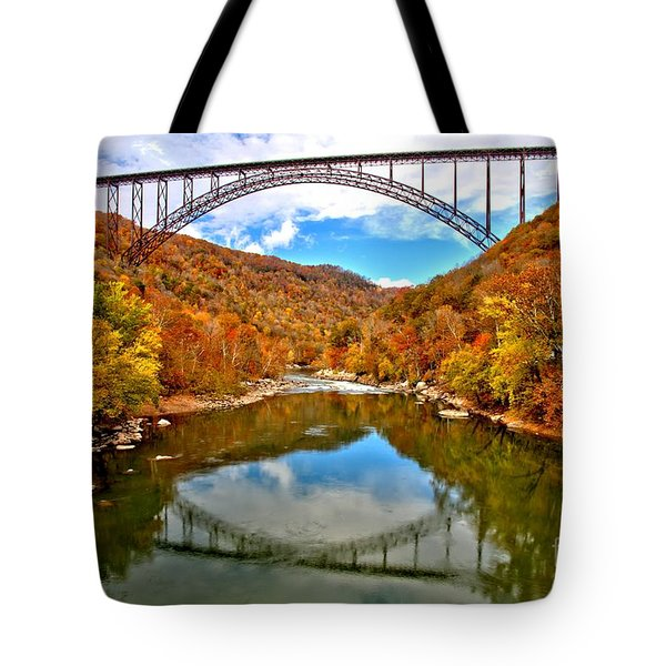 Flaming Fall Foliage At New River Gorge Tote Bag