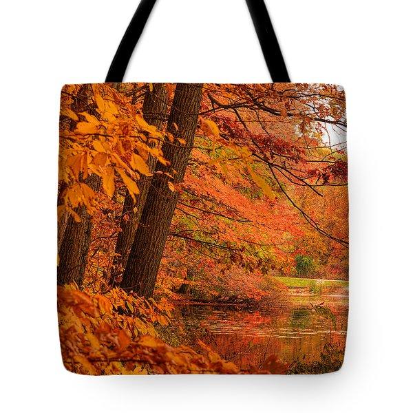 Flaming Leaves Tote Bag