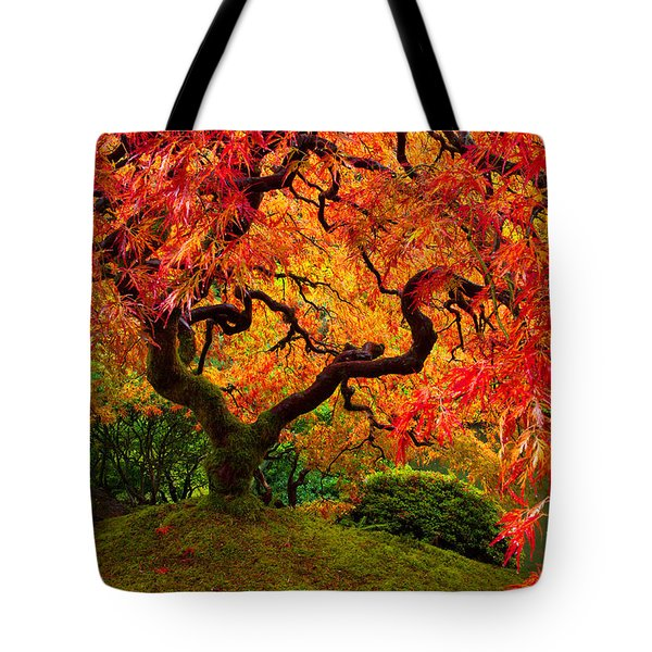 Flaming Maple Tote Bag