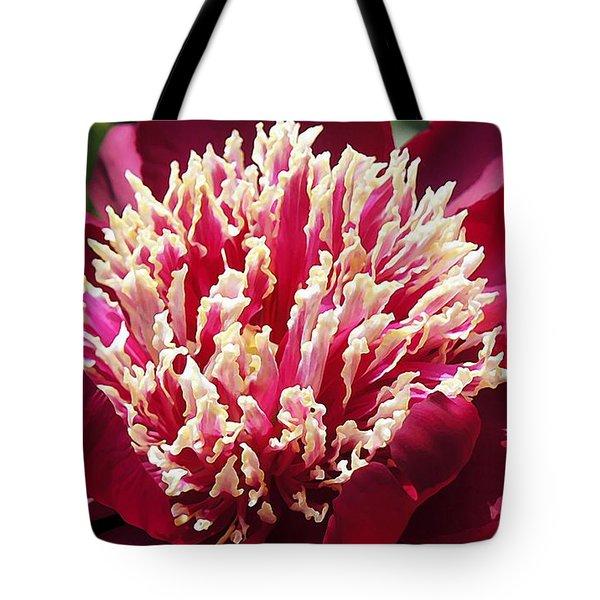 Flaming Peony Tote Bag