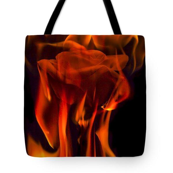 Flaming Rose Tote Bag by Jon Glaser