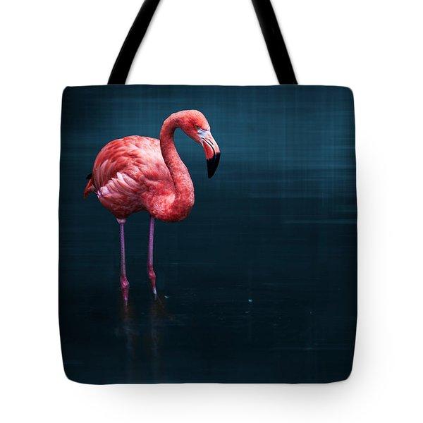 Flamingo - Blue Tote Bag by Hannes Cmarits