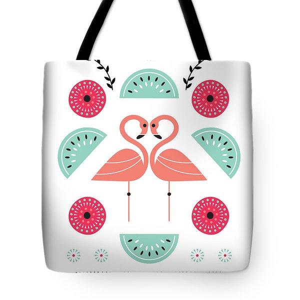 Flamingo Flutter Tote Bag by Susan Claire