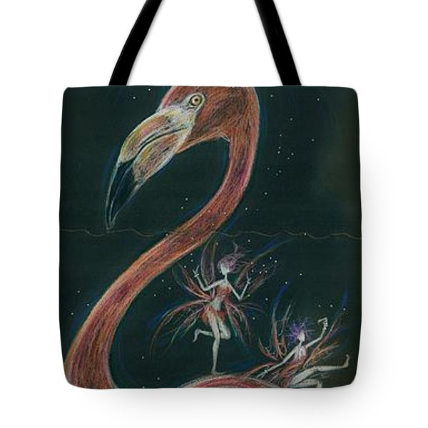 Tote Bag featuring the drawing Flamingo Knees by Dawn Fairies
