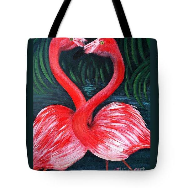 Flamingo Love Card Tote Bag