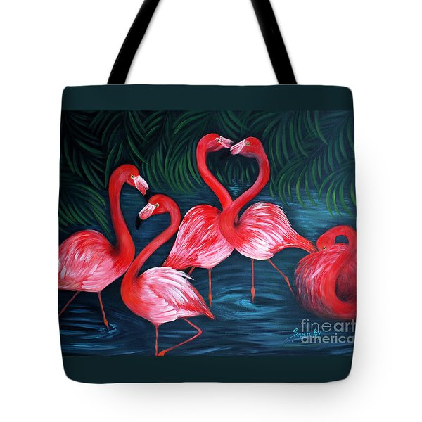 Flamingo Love. Inspirations Collection. Special Greeting Card Tote Bag by Oksana Semenchenko