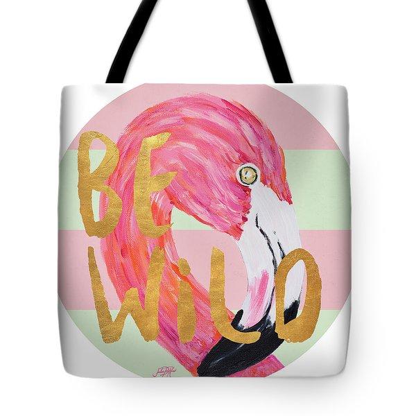 Flamingo On Stripes Round Tote Bag