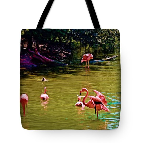 Flamingo Party Tote Bag by Luther Fine Art