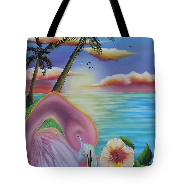 Tote Bag featuring the painting Flamingo Sunset by Dianna Lewis