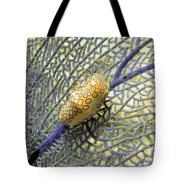 Flamingo Tongue Snail On Purple Fan Coral Tote Bag